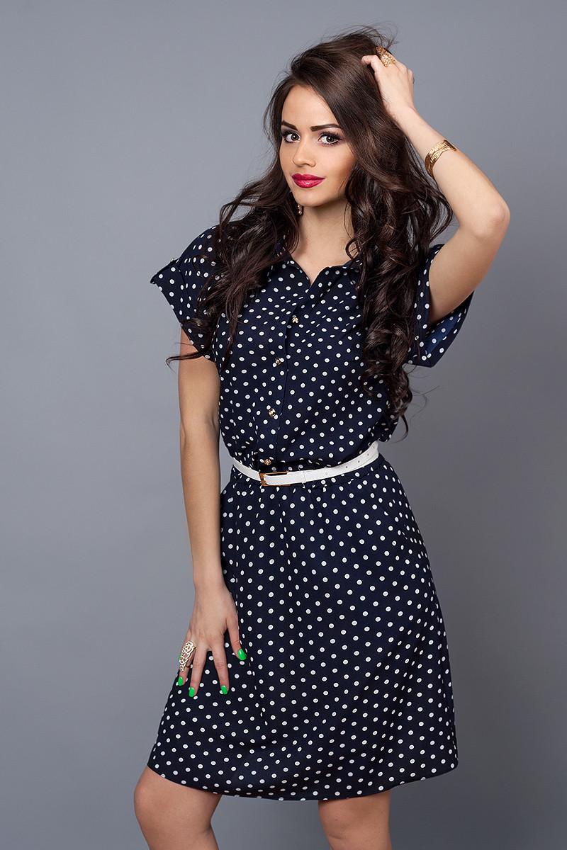 Платье мод 475-14,размер  50-52 синий горох