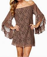 Гипюровое платье с рюшами