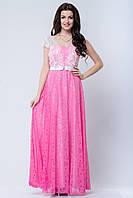 Вечернее розовое платье с юбкой из перфорированного шифона