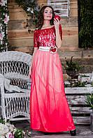 Выпускное платье градиент-красного цвета с атласным поясом