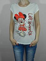 Футболка Минни Маус белая, молочная размер S, M, L Karteks Турция