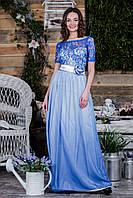 Выпускное платье цвета градиент-электрик  с атласным поясом