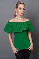 Красивая женская зеленая блуза из креп-шифона, 40,42,44,46