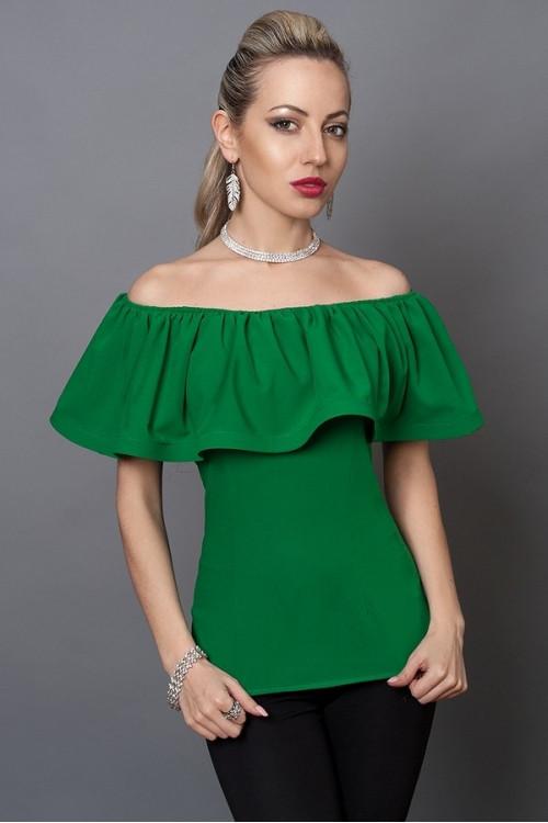 Женская зеленая блуза из креп-шифона, 40,42,44,46