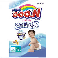 Подгузники GOO.N для детей 9-14 кг (размер L, на липучках, унисекс, 15 шт)