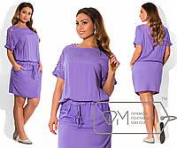 """Летнее женское платье со вставками из гипюра  до 56 размера """"Мишель"""""""