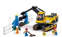 Конструктор Строительная площадка с экскаватором, фигурками, 614 деталей
