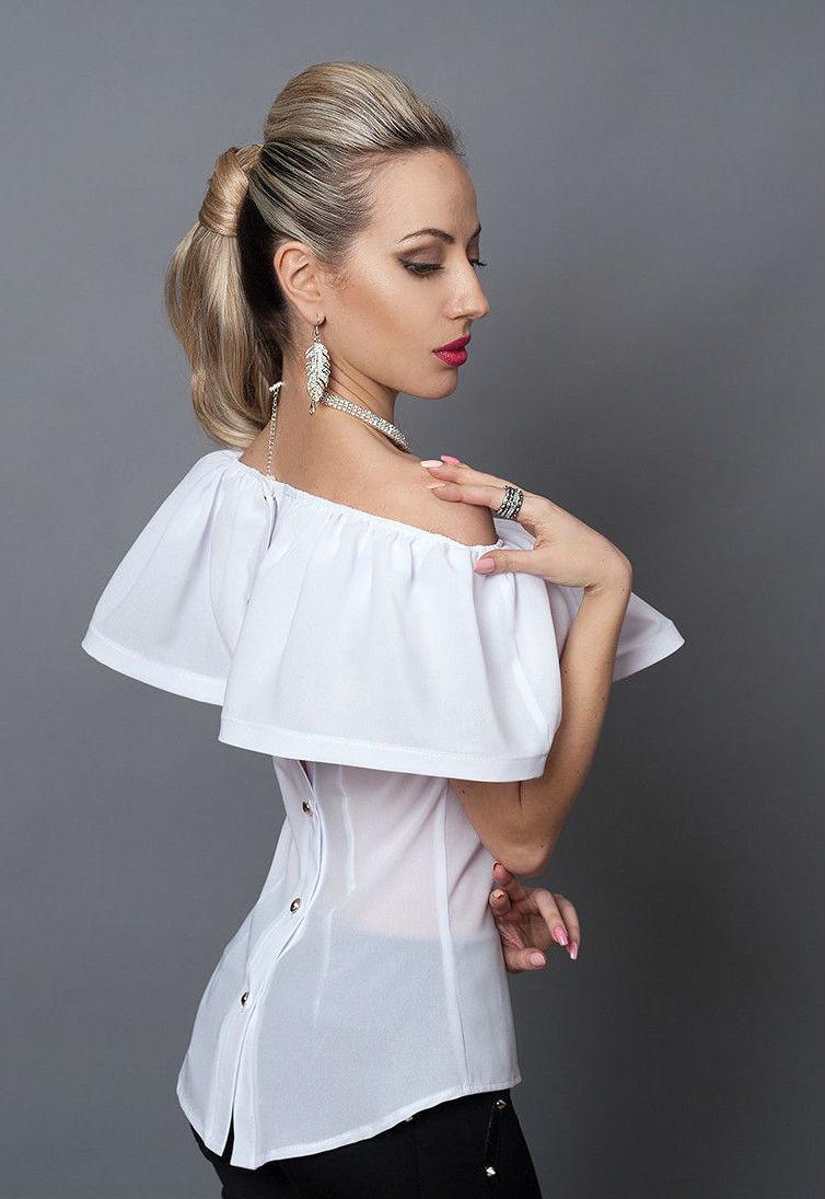 Белая женская блуза из креп-шифона, 40,42,44,46