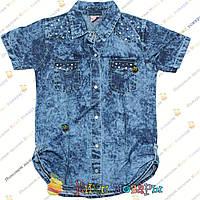 Джинсовая рубашка с коротким рукавом для девочек от 5 до 8 лет (4297)