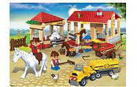 Конструктор Ферма с машиной, лошадками, фигурками, 338 деталей