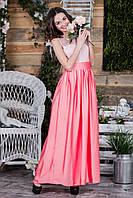 Выпускное коралловое платье с гипюровым верхом и атлас-шифоновой юбкой