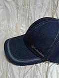Бейсболка из двухцветной джинсы серая с тонким флисом и без флиса 56-60, фото 4