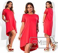 """Асимметричное женское платье лен+макраме до 54 размера """"Оникс"""""""