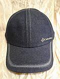 Бейсболка из двухцветной джинсы серая с тонким флисом и без флиса 56-60, фото 3