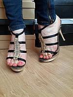 Женские модельные босоножки на каблуке с камнями Цвета золотой и красный. Состав эко кожа. ЮГ1257