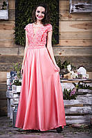 Коралловое выпускное платье с атлас-шифона и тканевым поясом