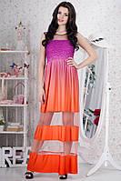 Оранжевое выпускное платье с мерцающим верхом