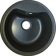 Круглая мойка для кухни из гранита Fancy Marble Texas светло-черный