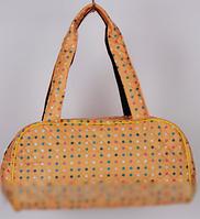 """Стеганая дутая сумка """"Аркадия"""" в горошек цвет оранжевый  RS"""