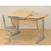 Детская парта Дэми 120х82 см с раздельной столешницей + ортопедический стул СУТ 17.04-01