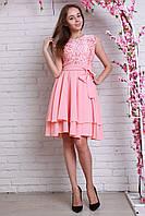 Красивое розовое платье с ярусной юбкой