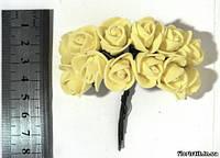 Роза из фуамирана на проволоке желтая