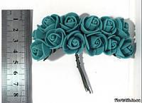 Роза из фоамирана на проволоке морская волна