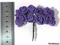 Роза из фуамирана на проволоке фиолетовая