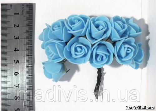 Роза из фуамирана на проволоке голубая