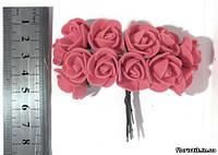 Роза из фуамирана на проволоке темно-розовая