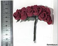 Роза из фуамирана на проволоке бардовая