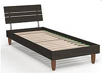 Кровать односпальная Прагматик (ДСП) 0,8х2 венге, ножки буковые лепесток яблоня