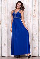 Выпускное  платье цвета электрик  в пол шлейки и пояс украшены камнями  и жемчугом