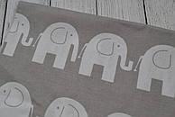 Лоскут ткани №17  серого цвета с изображением белых слоников