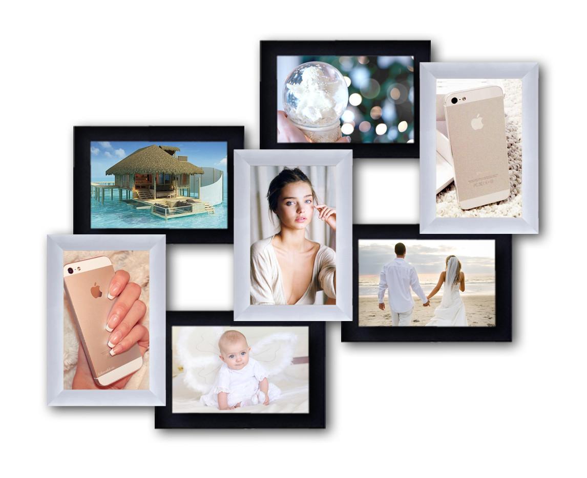 Пластиковая мультирамка на 7 фото 7 чудес, черно-белая