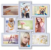 Пластиковая мультирамка на 9 фото Классика 9, белая