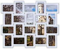 Деревянная мультирамка на 20 фото Классика 20, белая