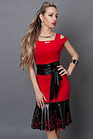 Красно черное платье с перфорацией
