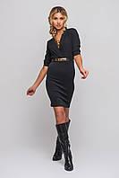 Деловое комбинированное платье черная блуза+юбка