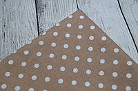Лоскут ткани №86 с белым  горошком среднего размера на коричневом фоне