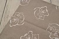 Лоскут ткани №13 с белыми мишками на сером фоне