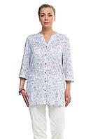 Женская блузка большого размера Голубая цветочный принт