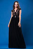 Выпускное черное платье с гипюровым верхом