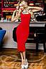 Женское Платье летнее миди красное