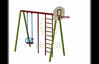 Комплекс гимнастический с баскетбольным щитом и качелей
