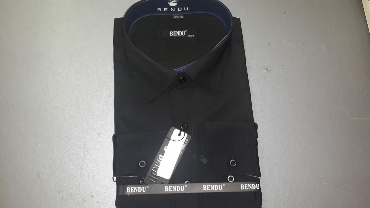Чорна приталені сорочка BENDU (розміри під замовлення)