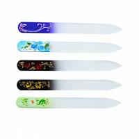 Сталекс Пилочка стеклянная для ногтей с ручной росписью,декор стразы 140 мм