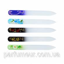 Сталекс скляна Пилочка для нігтів з ручним розписом,декор стрази 140 мм