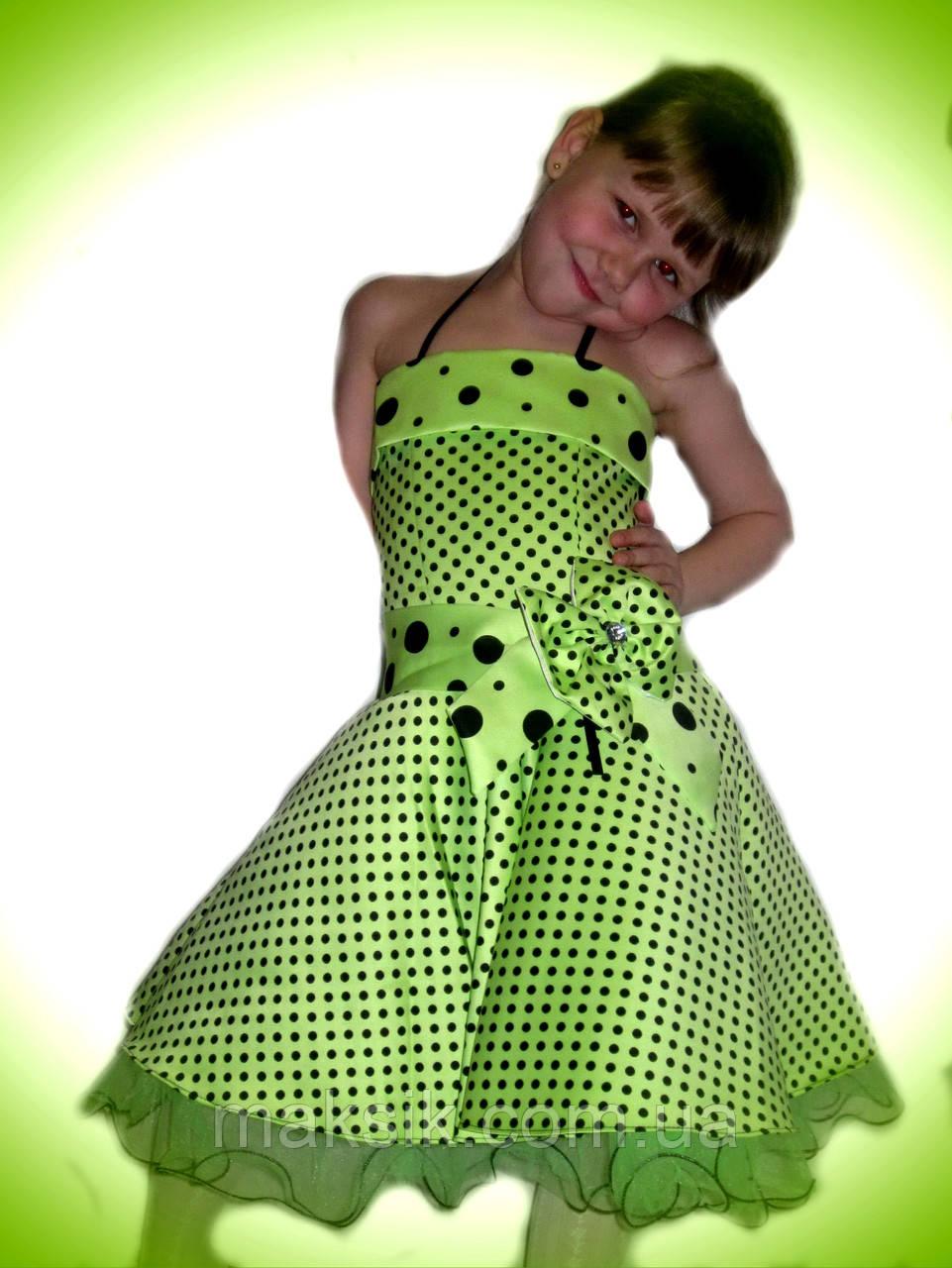 Прокат. Шикарное салатовое платье в горох