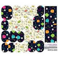 Наклейка для дизайна ногтей Cartoons collection Mini set VELENA MWCA-003